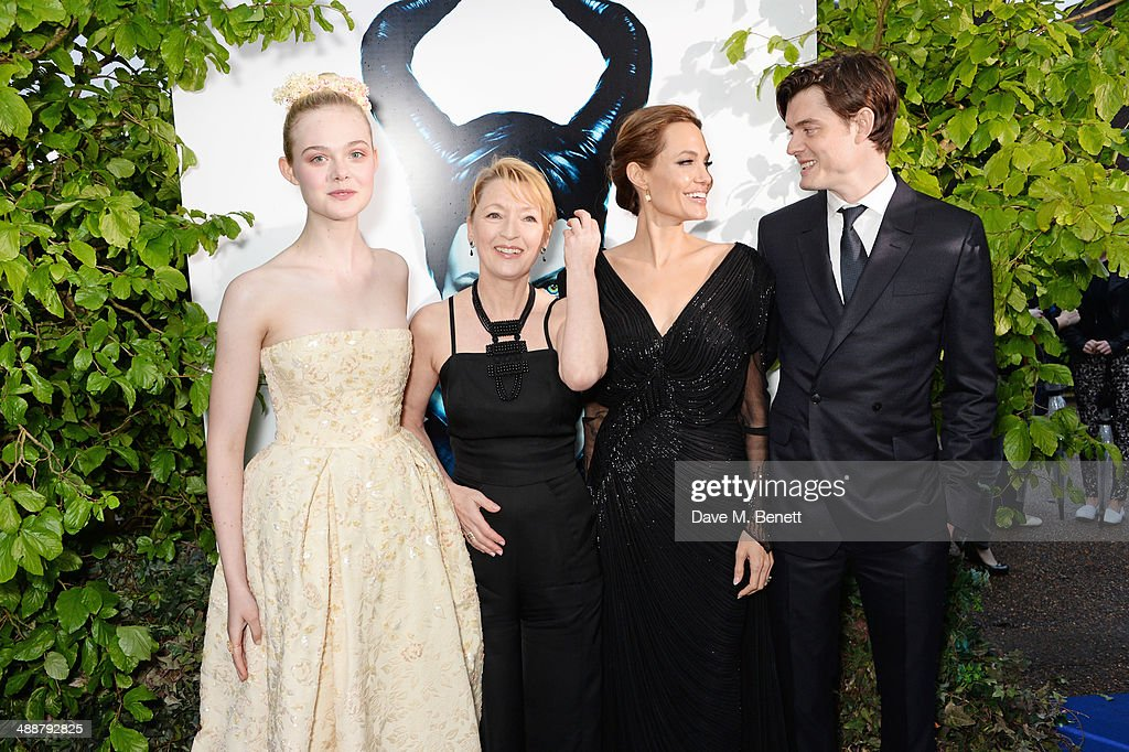 Elle Fanning, Lesley Manville, Angelina Jolie and Sam Riley arrive at a private reception as costumes and props from Disney's 'Maleficent' are exhibited in support of Great Ormond Street Hospital at Kensington Palace on May 8, 2014 in London, England.