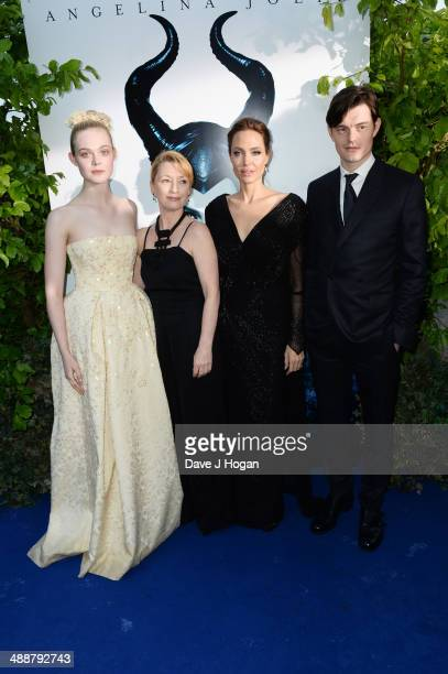 Elle Fanning, Lesley Manville, Angelina Jolie and Sam Riley attend the 'Maleficent' Costume And Props Private Reception at Kensington Palace on May...