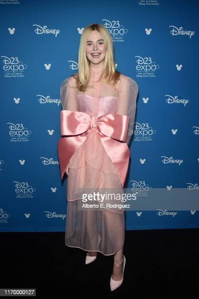 Elle Fanning of 'Maleficent Mistress of Evil' took part today in the Walt Disney Studios presentation at Disney's D23 EXPO 2019 in Anaheim Calif...
