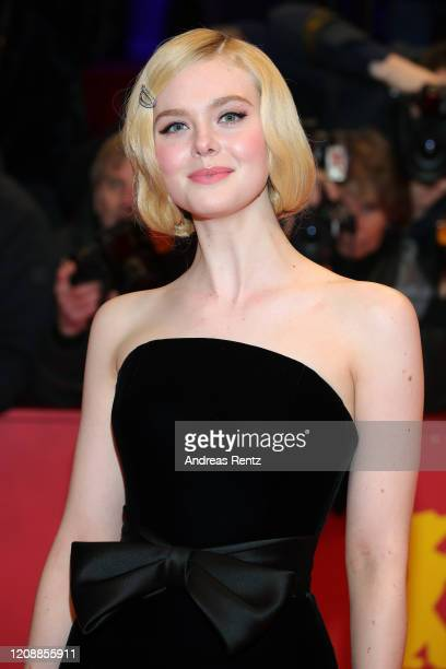 Elle Fanning poses at the The Roads Not Taken premiere during the 70th Berlinale International Film Festival Berlin at Berlinale Palace on February...