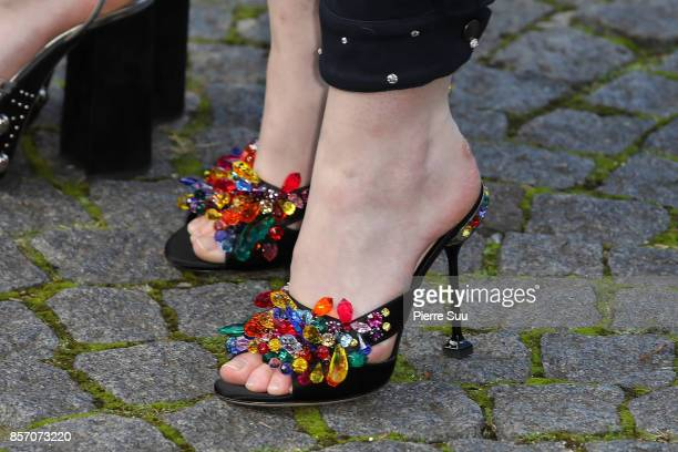 Elle Fanning shoe detail arrives at the Miu Miu show as part of the Paris Fashion Week Womenswear Spring/Summer 2018 on October 3 2017 in Paris France
