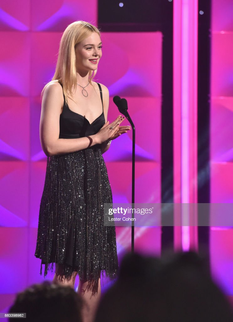 Elle Fanning speaks onstage at Billboard Women In Music 2017 at The Ray Dolby Ballroom at Hollywood & Highland Center on November 30, 2017 in Hollywood, California.