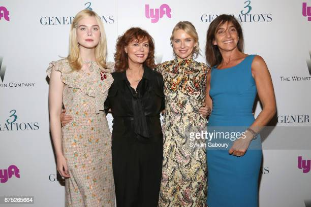 Elle Fanning Susan Sarandon Naomi Watts and Gaby Dellal attend The Weinstein Company and Lyft host a special screening of '3 Generations' on April 30...