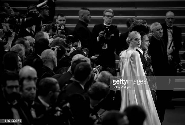 Elle Fanning wearing Chopard jewels attends the opening ceremony and screening of The Dead Don't Die during the 72nd annual Cannes Film Festival on...