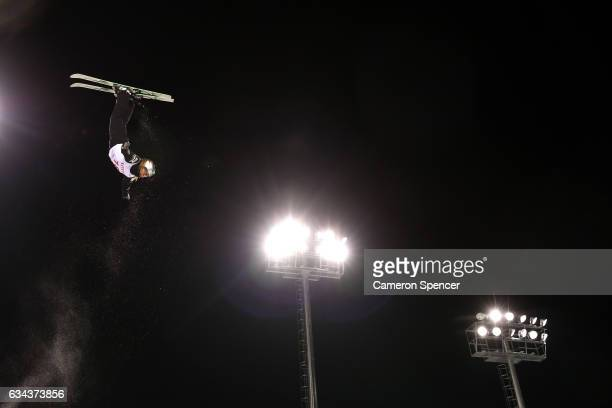 Elle Gaudette of the United States performs an aerial during Aerials training prior to the FIS Freestyle World Cup at Bokwang Snow Park on February 9...
