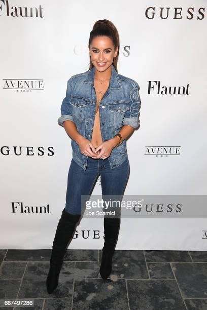Elle Gonzalez arrives at the Flaunt and Guess celebration of the Alternative Facts Issue hosted by Joe Jonas and DNCE at Avenue on April 11 2017 in...