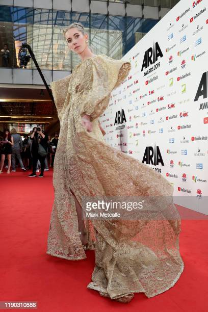 Elle Graham also known as Woodes arrives for the 33rd Annual ARIA Awards 2019 at The Star on November 27 2019 in Sydney Australia