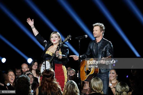 Elle King and Dierks Bentley perform onstage during the 50th annual CMA Awards at the Bridgestone Arena on November 2, 2016 in Nashville, Tennessee....