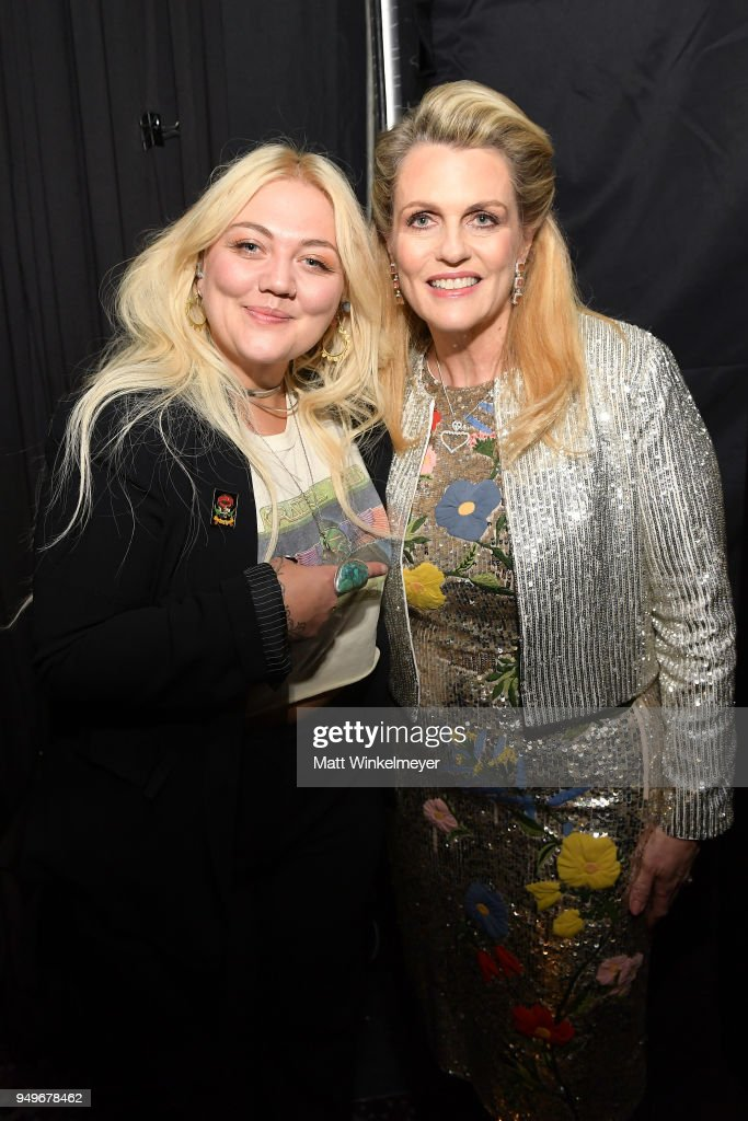 Elle King (L) and Founder of Race To Erase MS Nancy Davis pose backstage at the 25th Annual Race To Erase MS Gala at The Beverly Hilton Hotel on April 20, 2018 in Beverly Hills, California.
