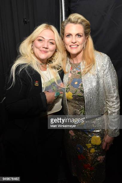 Elle King and Founder of Race To Erase MS Nancy Davis pose backstage at the 25th Annual Race To Erase MS Gala at The Beverly Hilton Hotel on April 20...