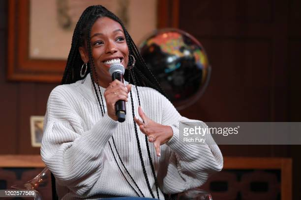 Elle Lorraine speaks onstage during the 2020 Sundance Film Festival Cinema Cafe With Zazie Beetz, Elle Lorraine And Taylour Paige at Filmmaker Lodge...