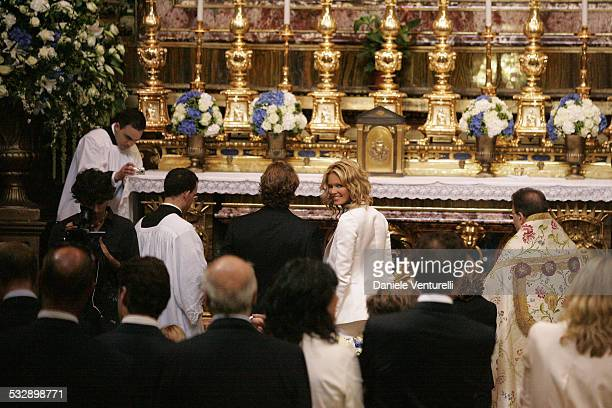 Elle Macpherson and Arpad Busson during Elle Macpherson and Arpad Busson in Rome for the Baptism of their Son Aurelius cy Andrea at Basilica Santa...