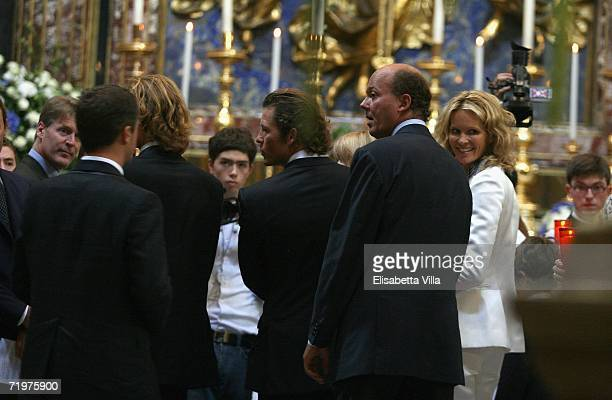Elle Macpherson and her partner Arpad Busson attend the christening of their son Aurelius at Basilica Santa Maria Maggiore on September 23 2006 in...