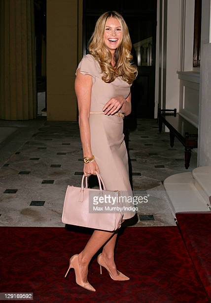 Elle Macpherson arrives at a reception for Australians who live or work in the UK hosted by Queen Elizabeth II and Prince Philip Duke of Edinburgh...
