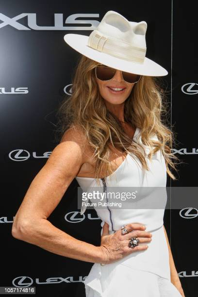 Elle Macpherson arrives at Derby Day at the 2018 Melbourne Cup Carnival