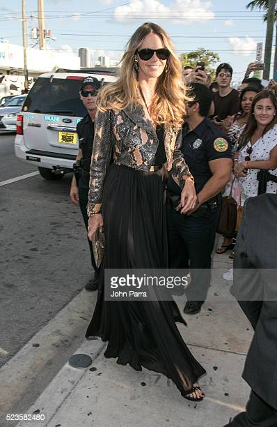 Elle Macpherson attends David Grutman's and model Isabela Rangel wedding in Wynwood Wall on April 23 2016 in Miami Florida
