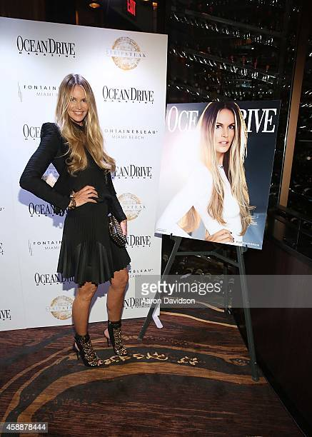 Elle Macpherson celebrates Ocean Drive Magazine's November cover at Stripsteak on November 12 2014 in Miami Beach Florida