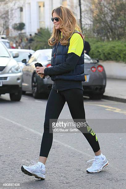 Elle Macpherson is seen on the school run on March 23 2011 in London United Kingdom