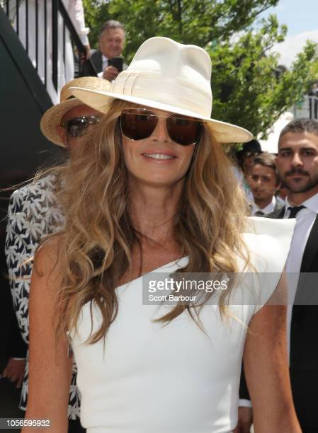 Elle Macpherson poses at the Lexus Marquee on Derby Day at Flemington Racecourse on November 3, 2018 in Melbourne, Australia.