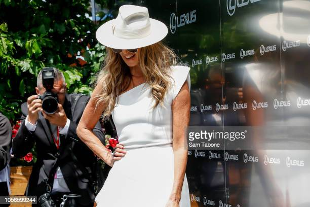 Elle Macpherson poses at the Lexus Marquee on Derby Day at Flemington Racecourse on November 3 2018 in Melbourne Australia