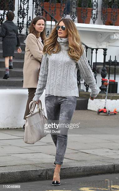 Elle Macpherson sighted on the school run on March 14, 2011 in London, England.