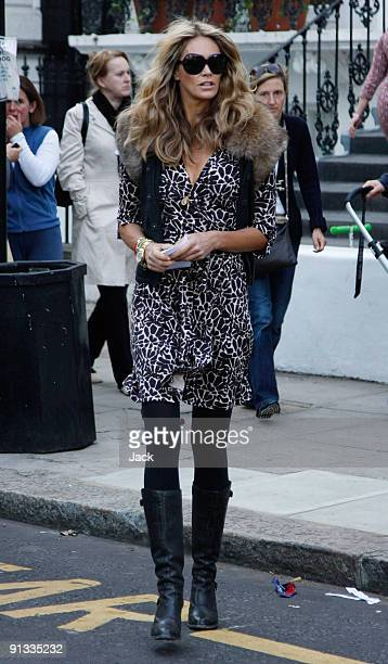 Elle Macpherson sighting on a school run on October 2, 2009 in London, England.
