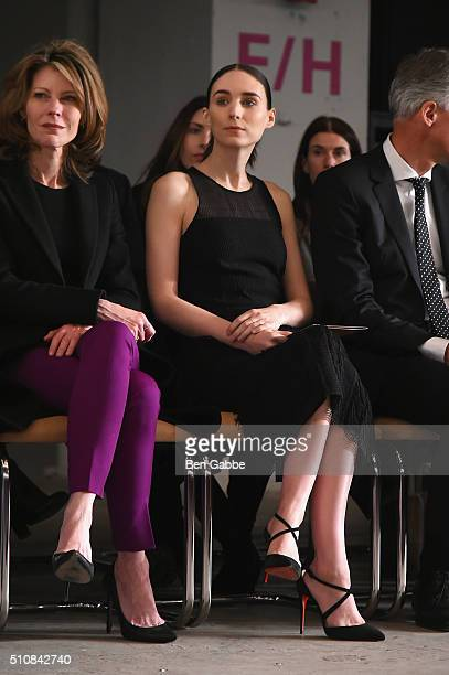 Elle Magazine editorinchief Robbie Myers and actress Rooney Mara attend the Boss Womenswear Fall 2016 fashion show during New York Fashion Week The...