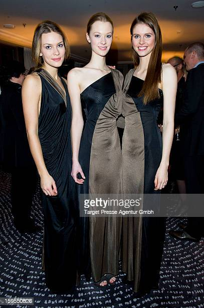 Elle models Isis Niedecken, Sonja Wohlmuth and Julia Kruse attend the Elle Soiree Privee during the Mercedes-Benz Fashion Week at the Waldorf Astoria...