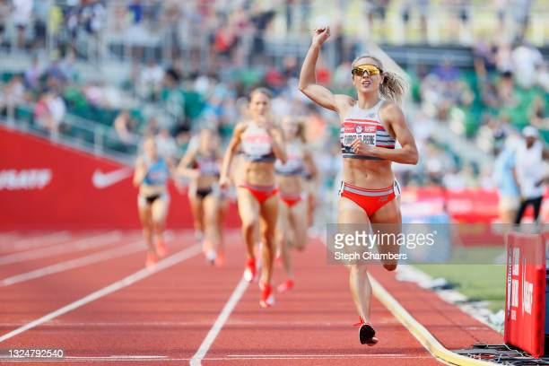 Elle Purrier St. Pierre crosses the finish line to win the Women's 1500 Meters Final during day four of the 2020 U.S. Olympic Track & Field Team...