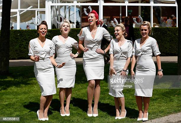 Elle The Pocket Belles perform on day three of the Qatar Goodwood Festival at Goodwood Racecourse on July 30 2015 in Chichester England