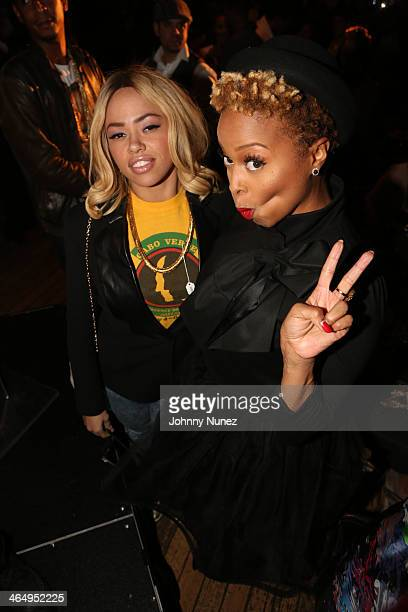 Elle Varner and Chrisette Michele attend Vibe Magazine's 2nd Annual PreGRAMMY Impact Awards at The Carondelet House on January 24 2014 in Los Angeles...