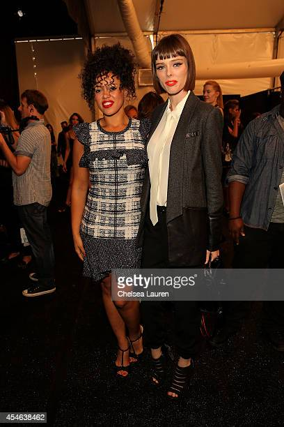 Elle Varner and Coco Rocha pose backstage at the Marissa Webb fashion show during MercedesBenz Fashion Week Spring 2015 at The Salon at Lincoln...