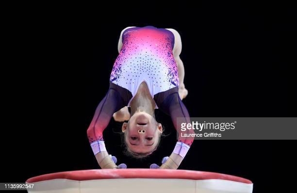 Ellen Armstrong of City of Liverpool Gymnastics Club competes on the Vault during the WAG Junior All Around 2019 Gymnastics British Championships at...