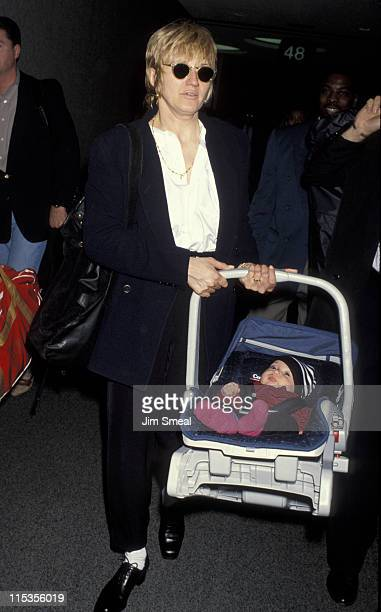 Ellen Barkin and baby during Ellen Barkin Arriving At LAX - April 16, 1993 at Los Angeles International Airport in Los Angeles, California, United...