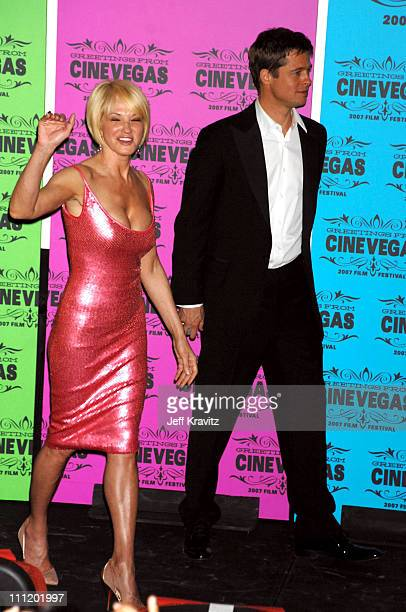 "Ellen Barkin and Brad Pitt during CineVegas Opening Night Screening of 'Oceans 13"" at Palms Casino Brendan Theater in Las Vegas, California, United..."