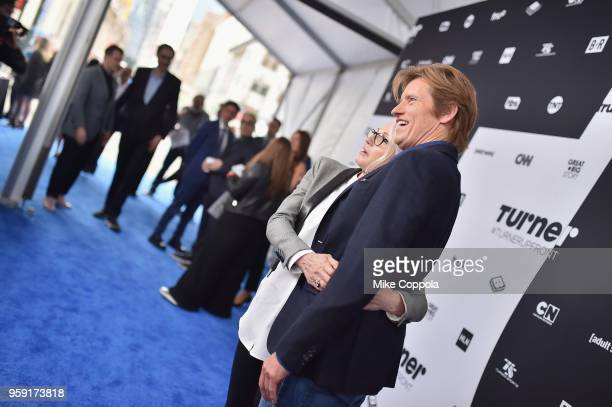 Ellen Barkin and Denis Leary attend the Turner Upfront 2018 arrivals on the red carpet at The Theater at Madison Square Garden on May 16 2018 in New...