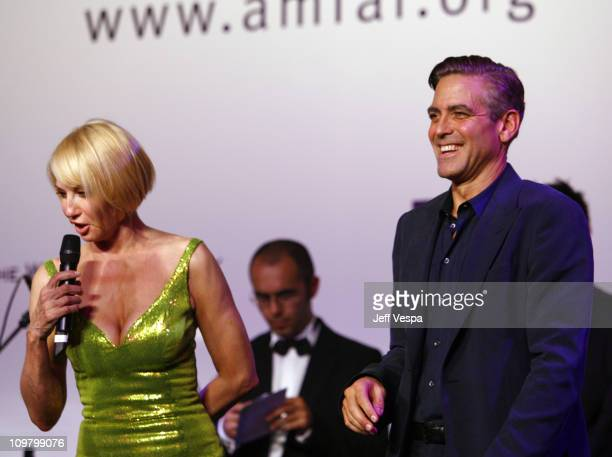 Ellen Barkin and George Clooney at amfAR's Cinema Against AIDS event, presented by Bold Films, the M*A*C AIDS Fund and The Weinstein Company to...