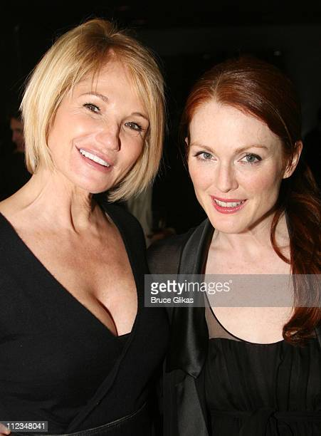 "Ellen Barkin and Julianne Moore during ""The Vertical Hour"" Opening Night Party at The Royalton Hotel in New York, NY, United States."