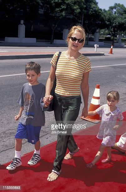 Ellen Barkin and kids during Matilda Los Angeles Premiere at Mann Culver Plaza Theatre in Culver City California United States