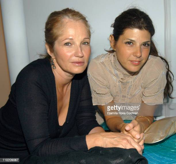 Ellen Barkin and Marisa Tomei during Olympus Fashion Week Spring 2005 Diane Von Furstenberg Front Row and Backstage at Diane Von Furstenberg Studio...