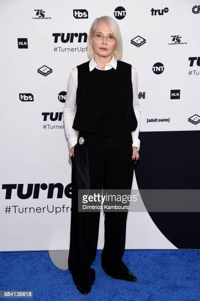 Ellen Barkin attends the Turner Upfront 2017 arrivals on the red carpet at The Theater at Madison Square Garden on May 17 2017 in New York City...
