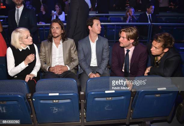 Ellen Barkin Ben Robson Shawn Hatosy Jake Weary and Finn Cole sit in the audience during the Turner Upfront 2017 show at The Theater at Madison...