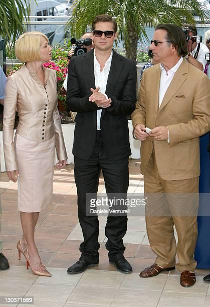 Ellen Barkin Brad Pitt and Andy Garcia during 2007 Cannes Film Festival 'Ocean's Thirteen' Photocall at Palais des Festivals in Cannes France