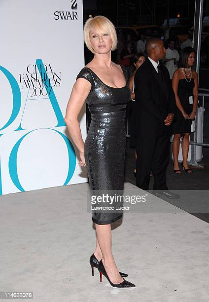 Ellen Barkin during 2007 CFDA Fashion Awards Red Carpet at New York Public Library in New York City New York United States