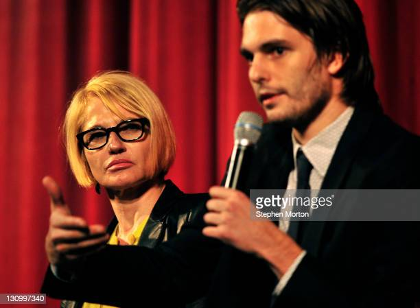 """Ellen Barkin listens to Sam Levinson during a Q & A after a screening of Barkin's movie """"Another Happy Day"""" during the 14th annual Savannah Film..."""