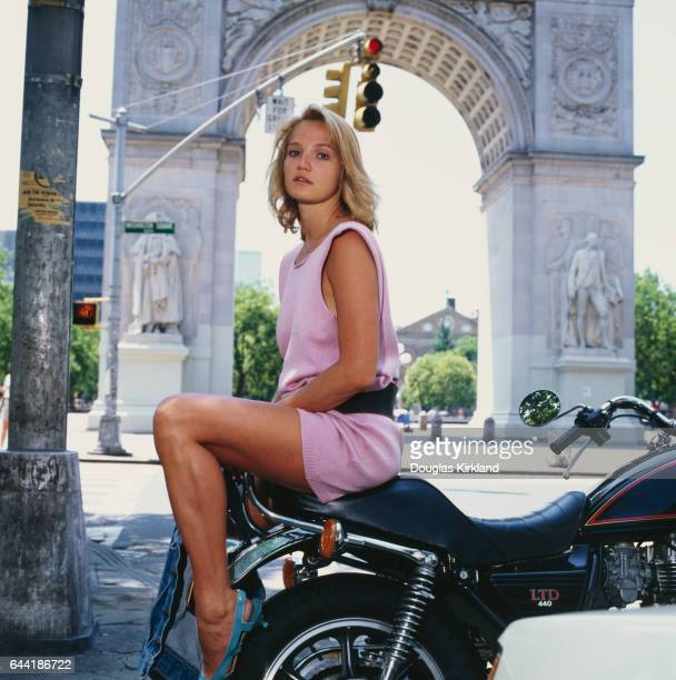 Ellen Barkin on a Motorcycle