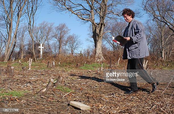 Ellen Berkland City of Boston archaeologist walks along hundreds of pauper graves holding Civil War veterans which may include members of the famed...