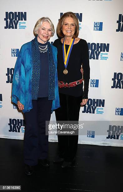 Ellen Burstyn and Gloria Steinem attend 2016 John Jay Medal for Justice Award at Gerald W Lynch Theater at John Jay College of Criminal Justice on...