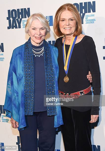 Ellen Burstyn and Gloria Steinem attend the 2016 John Jay Medal For Justice Award at Gerald W. Lynch Theater on March 3, 2016 in New York City.