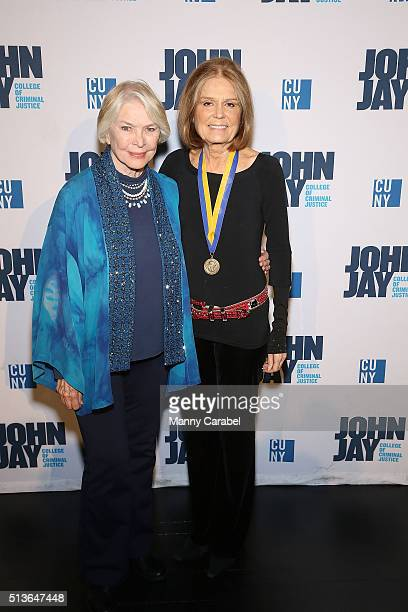 Ellen Burstyn and Gloria Steinem attend the John Jay Medal for Justice Awards Ceremony at Gerald W Lynch Theater on March 3 2016 in New York City
